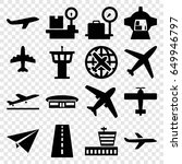 airplane icons set. set of 16... | Shutterstock .eps vector #649946797
