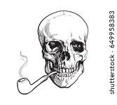 hand drawn human skull smoking... | Shutterstock .eps vector #649958383