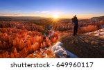 sunrise in bryce canyon... | Shutterstock . vector #649960117