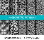 vector set of ten geometric... | Shutterstock .eps vector #649993603