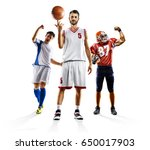 multi sport collage soccer... | Shutterstock . vector #650017903