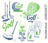 golf set with basket  shoes ... | Shutterstock .eps vector #650020477