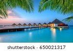 water villas in lagoon ... | Shutterstock . vector #650021317