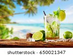 fresh mojito drink placed on... | Shutterstock . vector #650021347