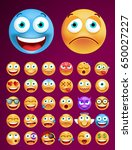 set of cute emoticons on black... | Shutterstock .eps vector #650027227