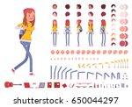 Teenager girl with backpack. Character creation set. Full length, different views, emotions, gestures, isolated against white background. Build your own design. Cartoon flat-style vector illustration | Shutterstock vector #650044297