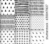 set of black and white seamless ... | Shutterstock .eps vector #650047837