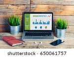 web statistics in a laptop... | Shutterstock . vector #650061757