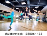 a group of girls jump with... | Shutterstock . vector #650064433