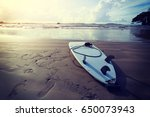 surfboard on beach ready for... | Shutterstock . vector #650073943