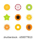 cut fruit. icon set. exotic... | Shutterstock .eps vector #650077813