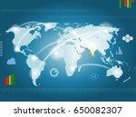 earth map with communications | Shutterstock . vector #650082307
