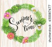 summer lettering. tropical palm ... | Shutterstock .eps vector #650087677