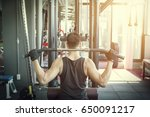 man pulling up on horizontal... | Shutterstock . vector #650091217