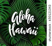 aloha hawaii brush lettering.... | Shutterstock .eps vector #650121343