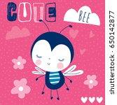 cute bee cartoon vector... | Shutterstock .eps vector #650142877