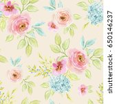 watercolor floral background... | Shutterstock . vector #650146237