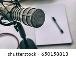 microphone  sheets of paper and ... | Shutterstock . vector #650158813