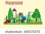 kids playground. buildings for... | Shutterstock .eps vector #650172373
