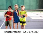 girl and boys playing tennis... | Shutterstock . vector #650176207