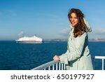 young traveller woman looking... | Shutterstock . vector #650197927