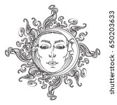 fairytale style hand drawn sun... | Shutterstock .eps vector #650203633