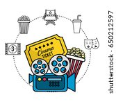 movie camera with ticket and... | Shutterstock .eps vector #650212597