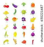 cartoon vegetables  fruits and... | Shutterstock .eps vector #650221687
