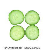 Slice Of Cucumber Isolated On...