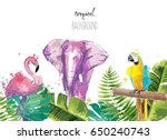 background with tropical leaves ... | Shutterstock .eps vector #650240743