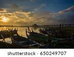 myanmar gondola at the river... | Shutterstock . vector #650249707