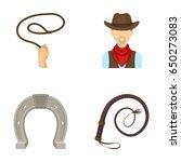 hand lasso  cowboy  horseshoe ... | Shutterstock .eps vector #650273083