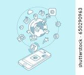 social media blue linear... | Shutterstock .eps vector #650290963