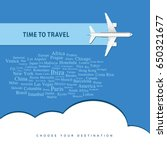 airplane with time to travel... | Shutterstock .eps vector #650321677