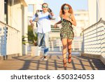 young happy couple in love... | Shutterstock . vector #650324053