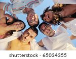 happy young friends group team... | Shutterstock . vector #65034355