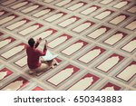 religious muslim man praying... | Shutterstock . vector #650343883