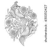 birds and flower. zentangle... | Shutterstock .eps vector #650352427