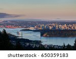 Stock photo greater vancouver at sunset view from cypress mountain vancouver outlook west vancouver bc 650359183