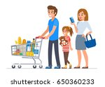 family  shopping in supermarket ... | Shutterstock .eps vector #650360233