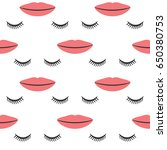 female lips and closed eyes... | Shutterstock .eps vector #650380753