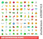 100 countryside icons set in... | Shutterstock . vector #650387413