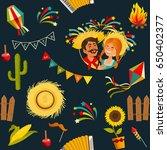 festa junina seamless pattern.... | Shutterstock .eps vector #650402377