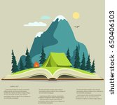 nature landscape in opened book ... | Shutterstock .eps vector #650406103