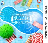 swimming pool top view with... | Shutterstock . vector #650409187