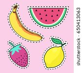 vector set with cute fruit... | Shutterstock .eps vector #650413063
