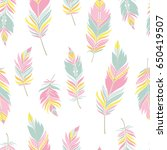 ethnic feathers seamless... | Shutterstock .eps vector #650419507