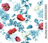 seamless pattern of sunflowers... | Shutterstock .eps vector #650423383