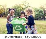 group of kids school volunteer... | Shutterstock . vector #650428003