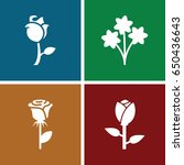 rose icons set. set of 4 rose...